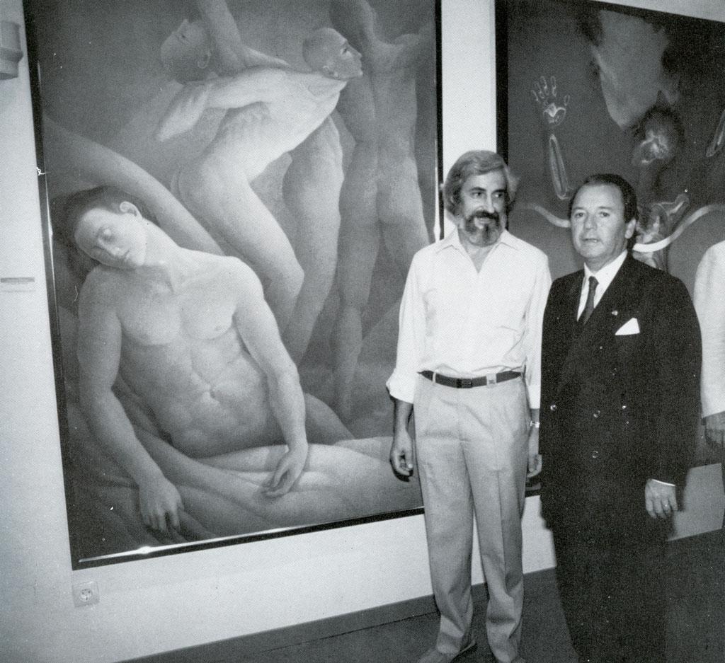 Adquisició d'obra per al Museu F.C. Barcelona. A. Martró i Josep Lluís Núñez.